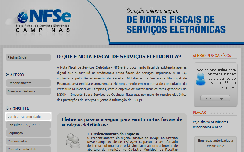 nota fiscal de serviços eletronica nfse