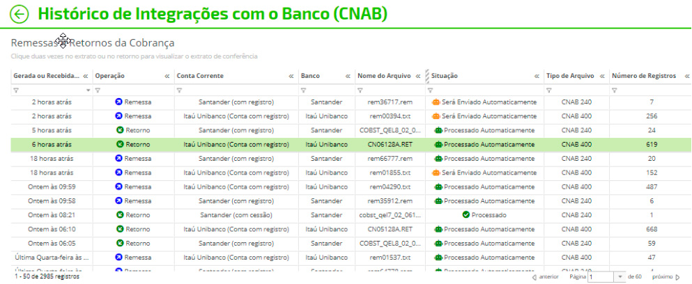 Histórico de Integrações com o Banco (CNAB)