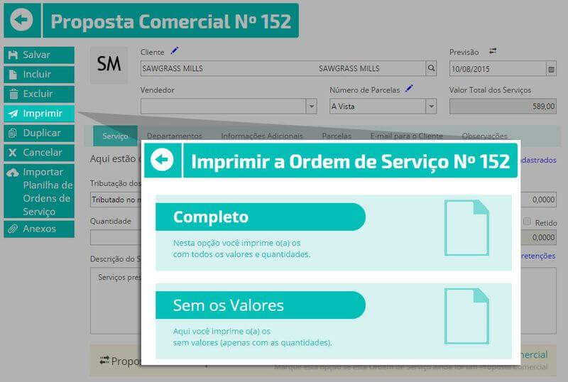 imprimir ordem de servicos em sistema erp online