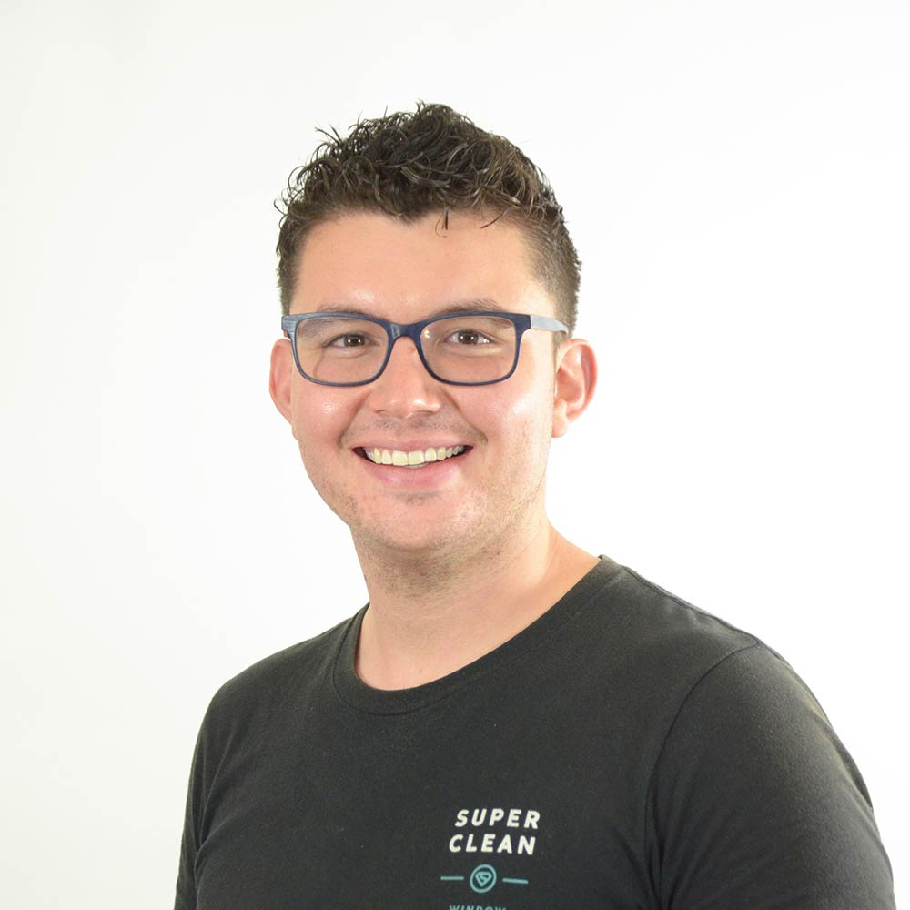 Garret Trujillo, window cleaning technician
