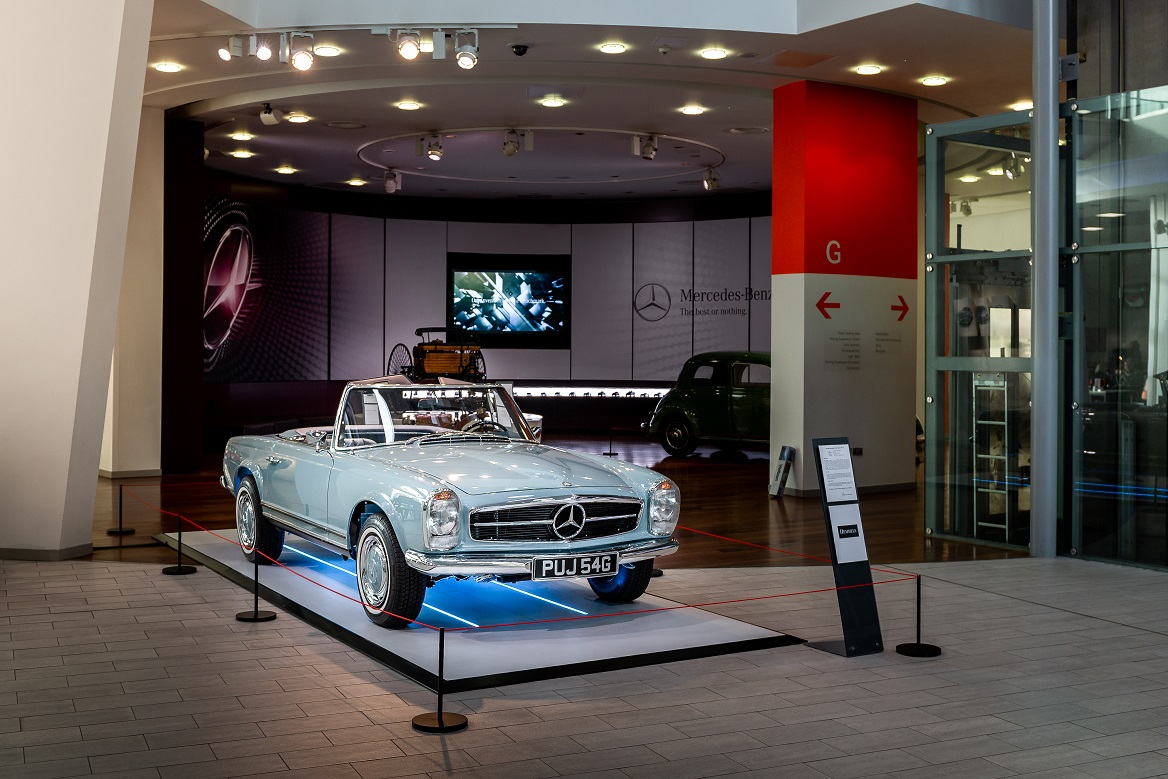 Hemmels W113 280SL Pagoda in Horizon Blue at  Mercedes-Benz World, UK  2