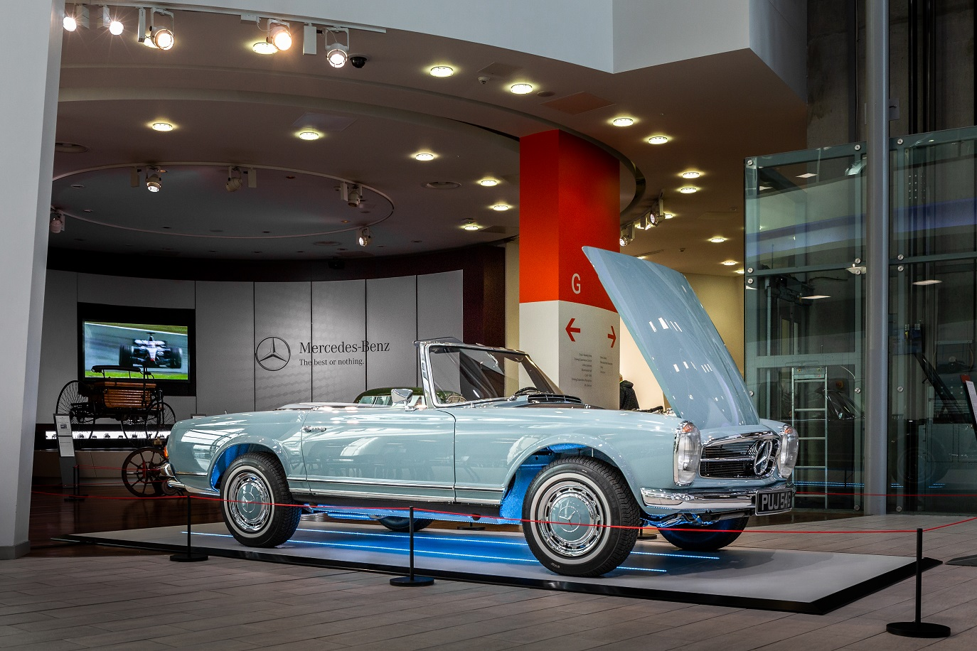Hemmels W113 280SL Pagoda in Horizon Blue at  Mercedes-Benz World, UK  8