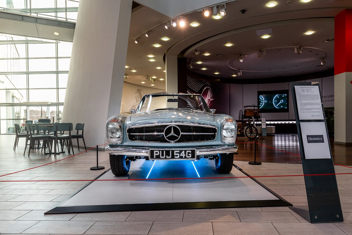 Front view of Hemmels W113 280SL Pagoda in Horizon Blue at  Mercedes-Benz World, UK