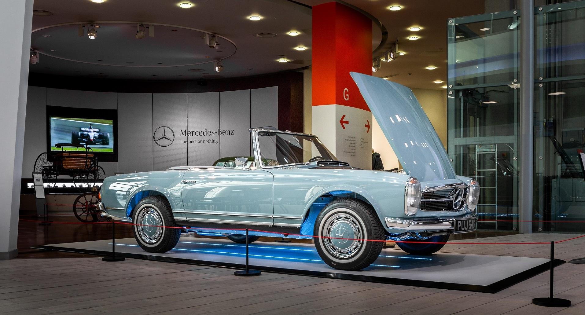 1968 Mercedes-Benz W113 280SL Pagoda in Horizon Blue at Mercedes Benz World Brooklands