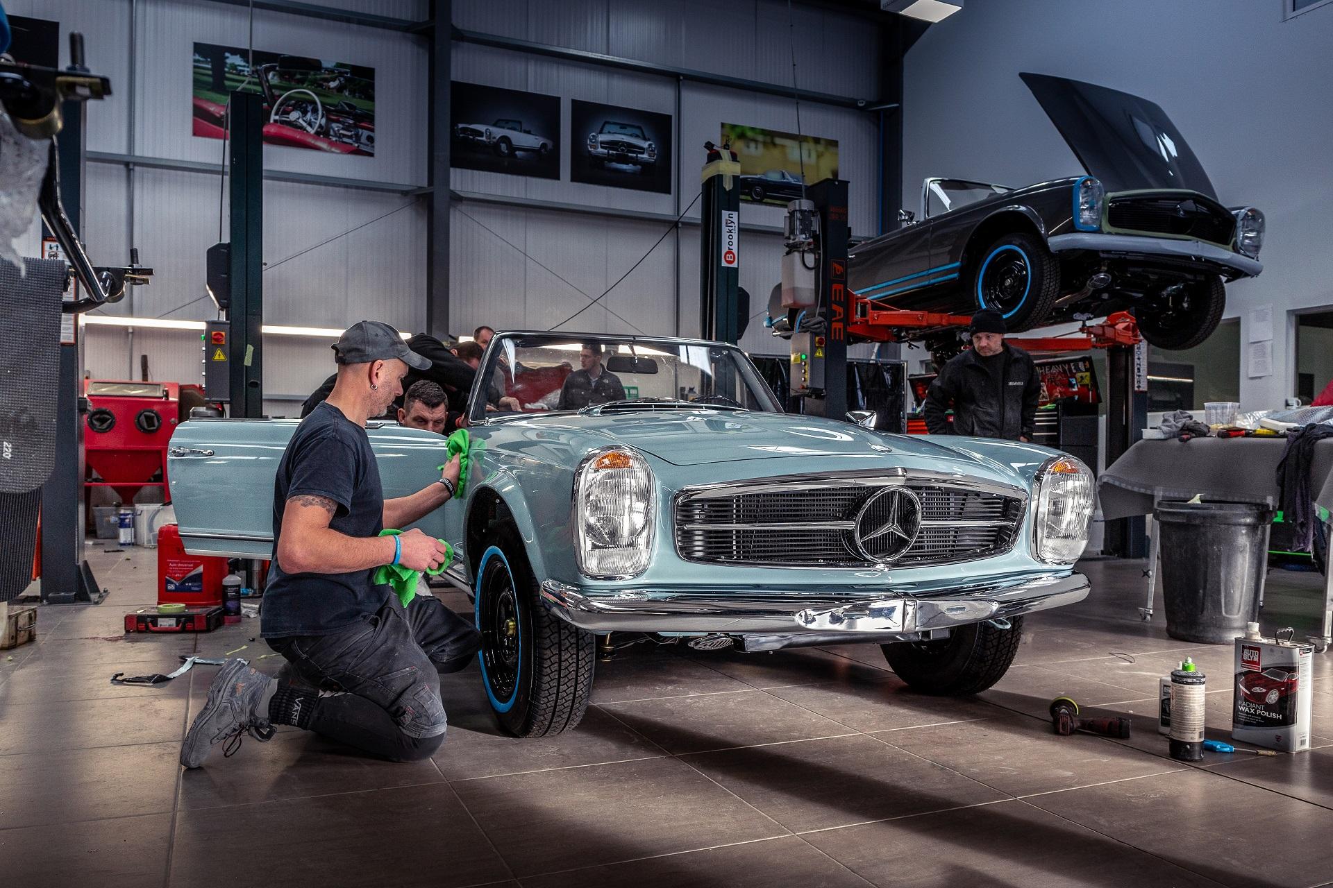 1968 Mercedes-Benz W113 280SL Pagoda in Horizon Blue in Hemmels workshop for  Mercedes Benz World Brooklands
