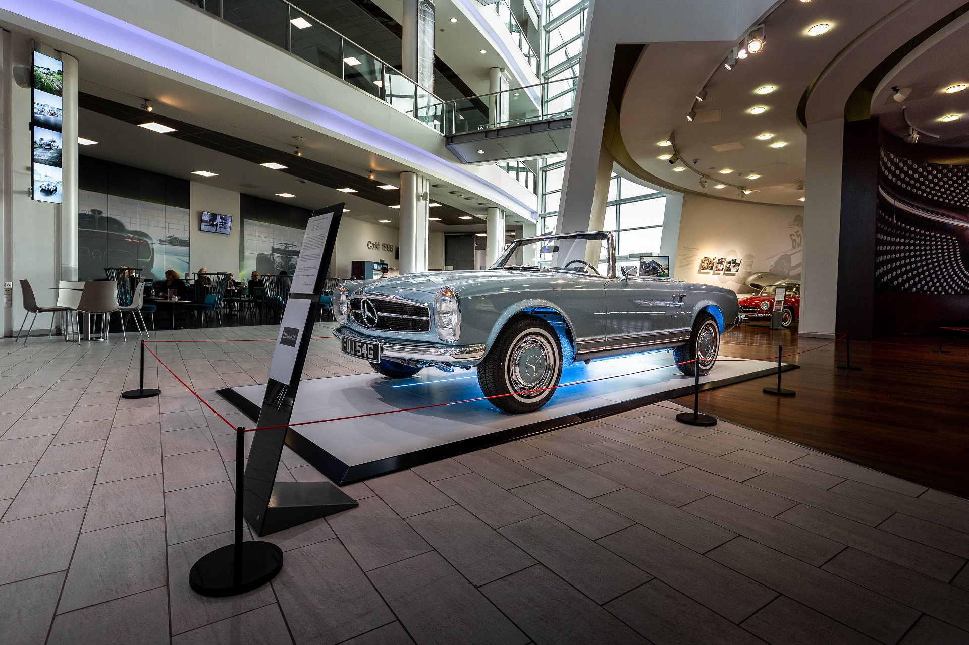 1968 Mercedes-Benz W113 280SL Pagoda in Horizon Blue side view at Mercedes Benz World Brooklands