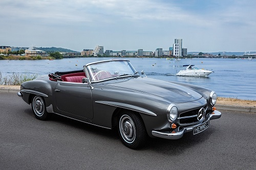 Classic Mercedes Benz W121 190SL restoration from Hemmels in anthracite with red interior