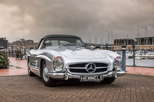 Classic Mercedes Benz W198 300SL roadster restoration by Hemmels in silver with red interior