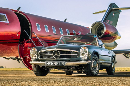 Classic Mercedes Benz W113 280sl Pagoda restoration by Hemmels in anthracite with red interior
