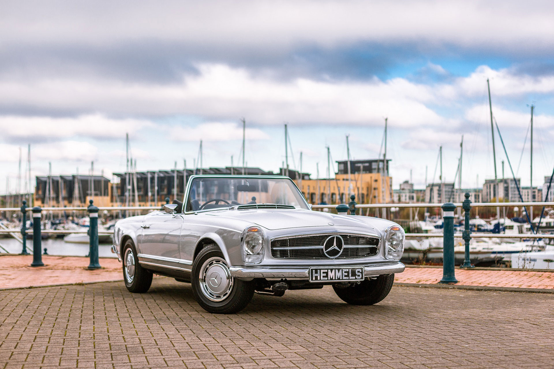 Classic 1971 Mercedes Benz W113 280SL Pagoda  in silver by Cardiff marina