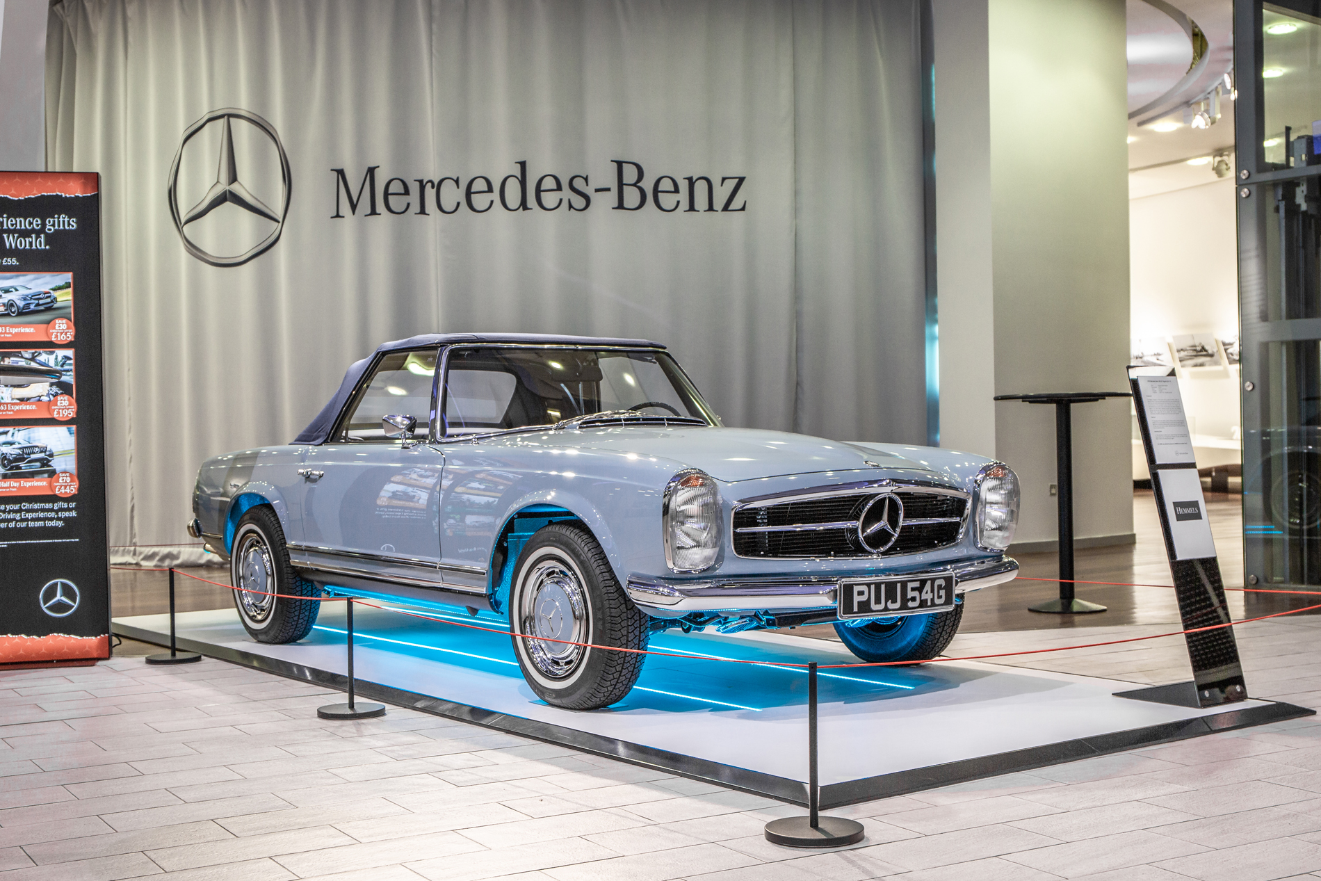 MetallicHemmels W113 280SL Pagoda in Horizon Blue at  Mercedes-Benz World, UK  3