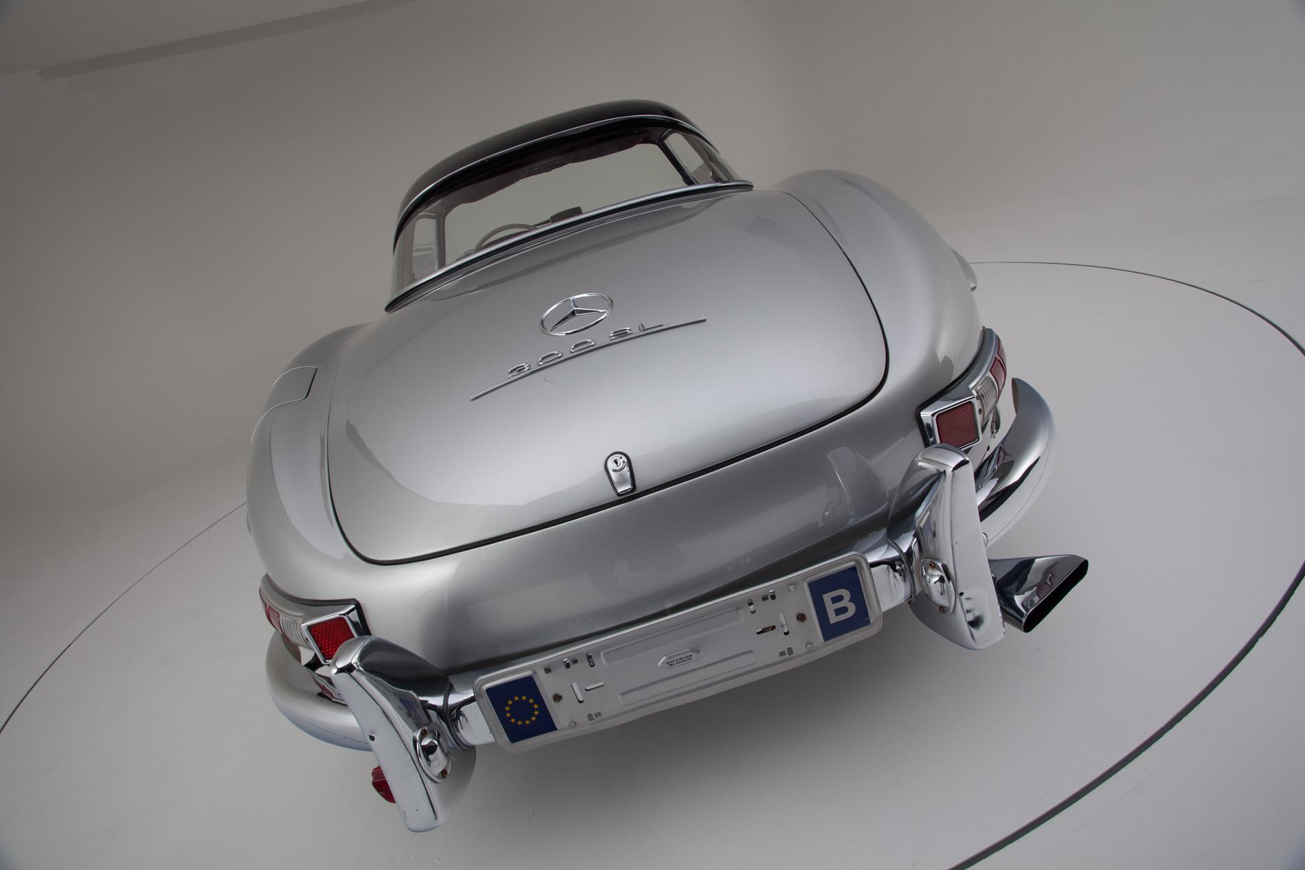 Silver Mercedes-Benz 300SL Roadster in the Hemmels showroom