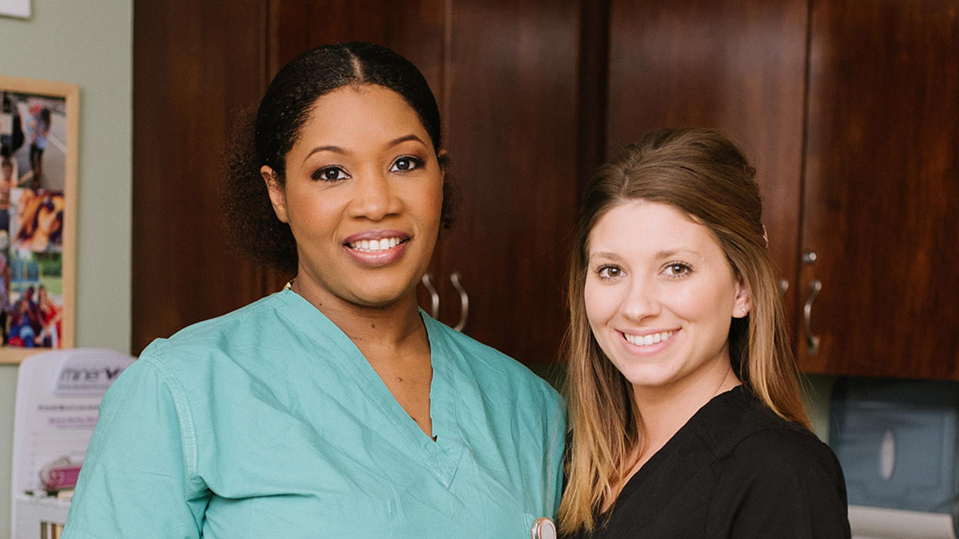 Dr. Hodge and a North Oaks OBGYN nurse.