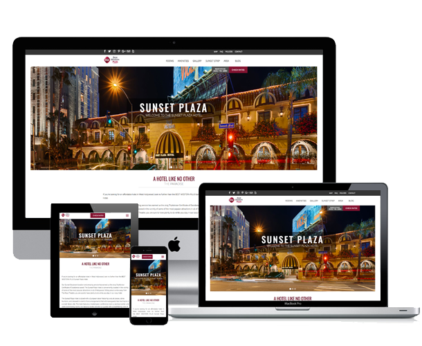 sunset plaza hotel website across screens