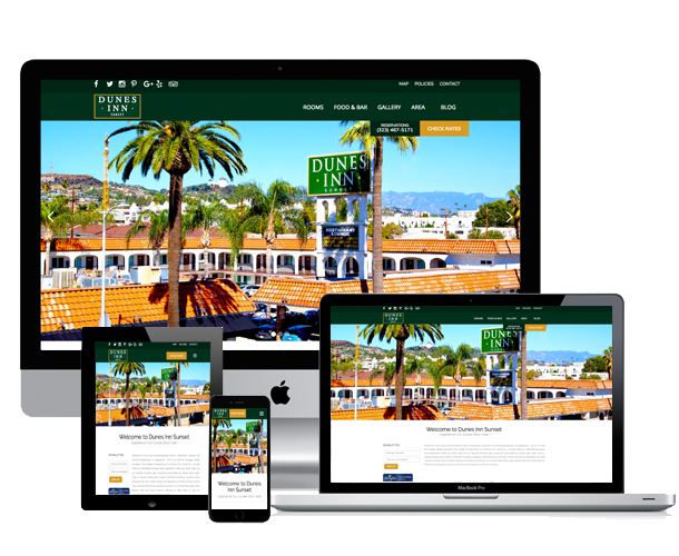 dunes inn website across screens