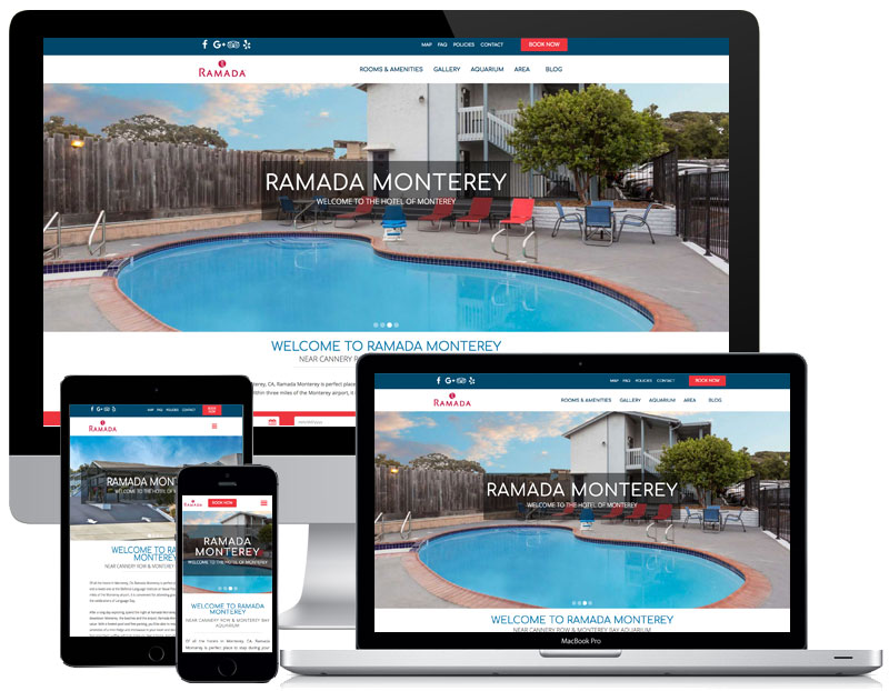 ramada monterey hotel website across screens