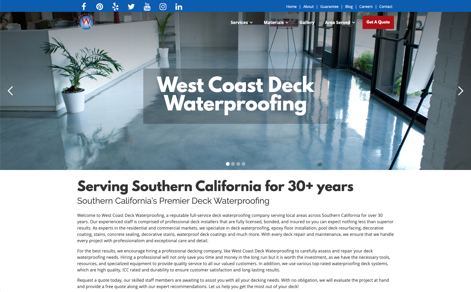 West Coast Deck Waterproofingwebsite across screens