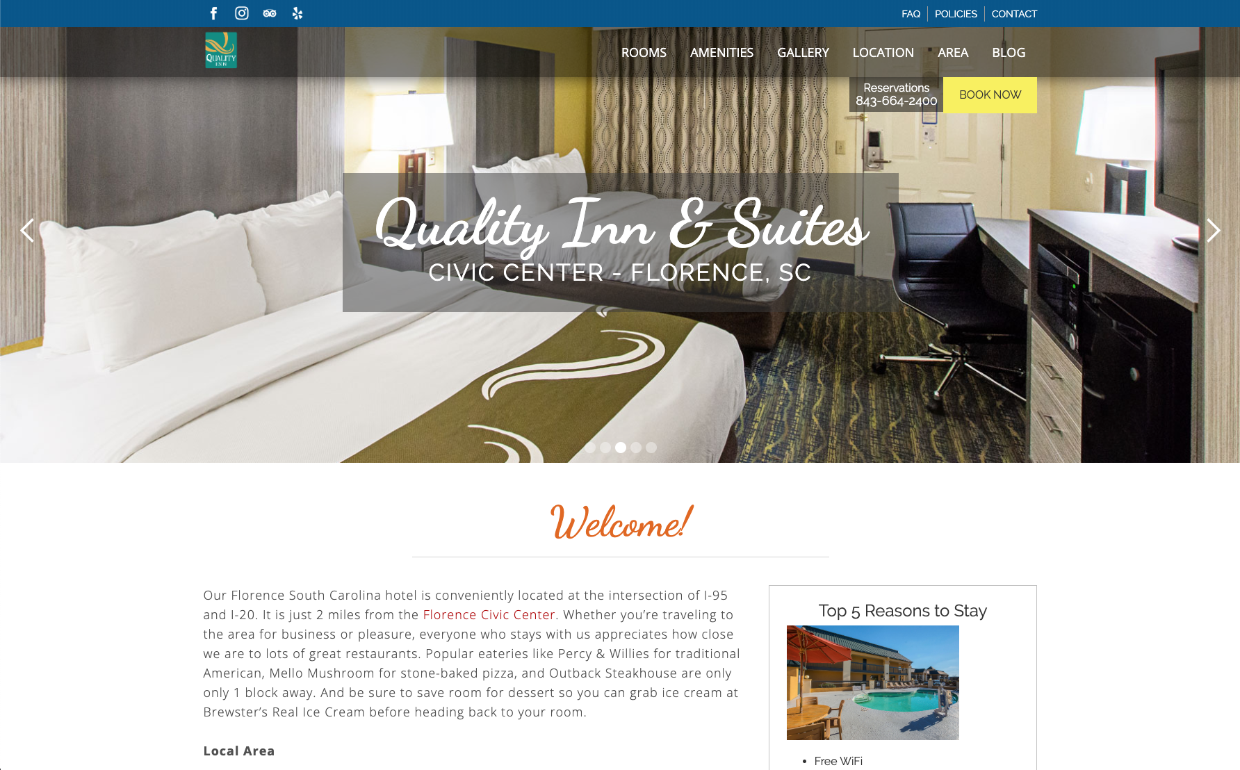 Quality Inn Florence website across screens