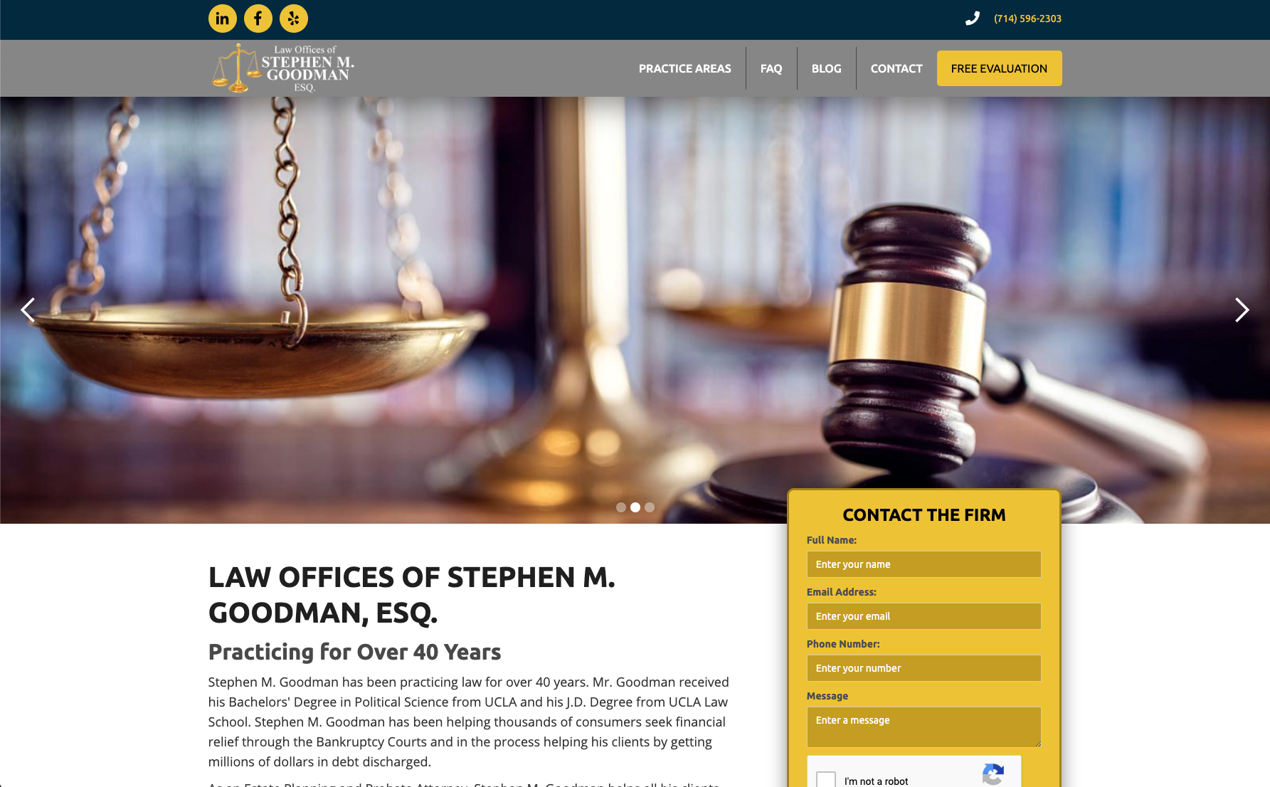 Law offices of stephen gooman website across screens