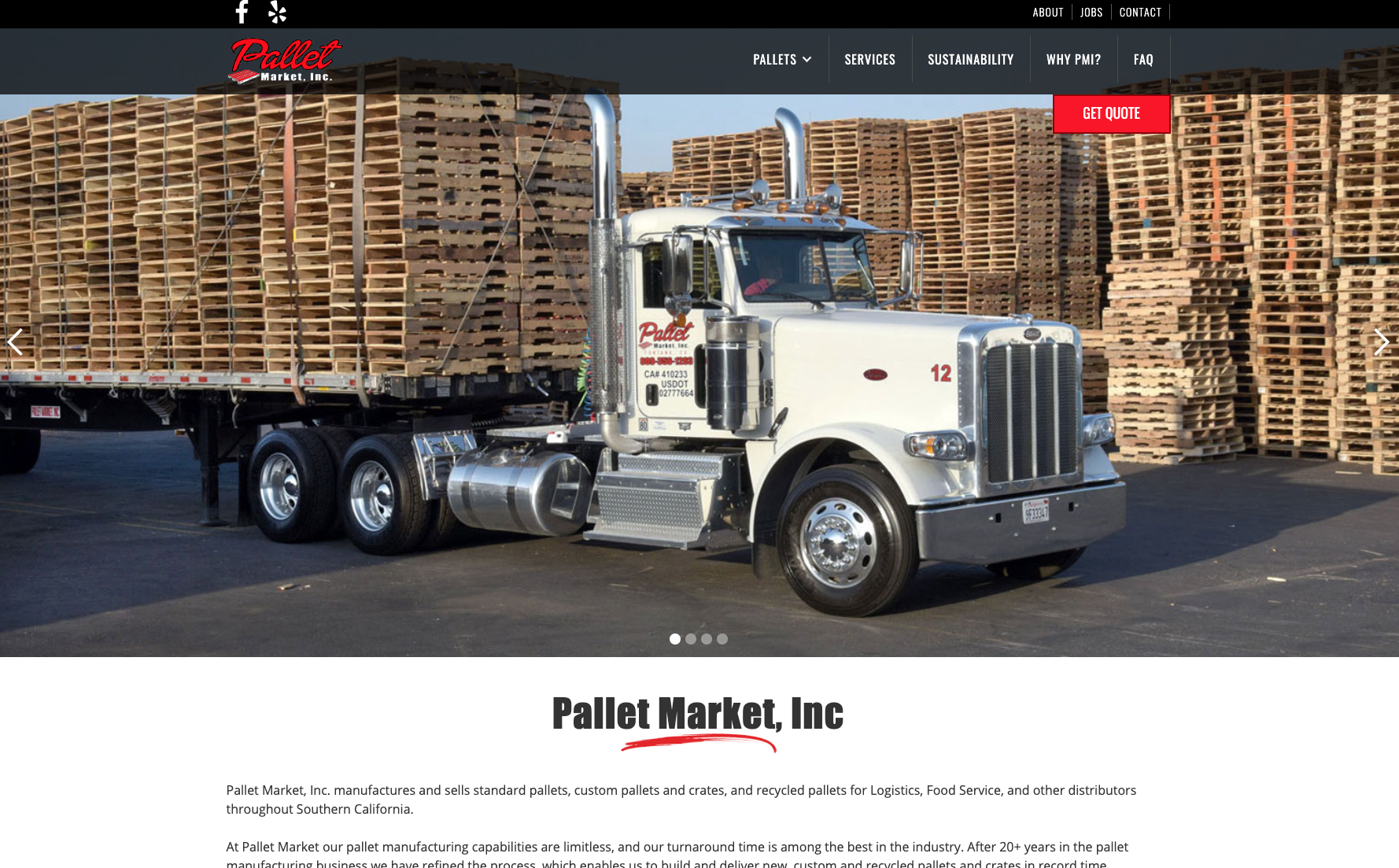 Pallet Market, INC. website across screens