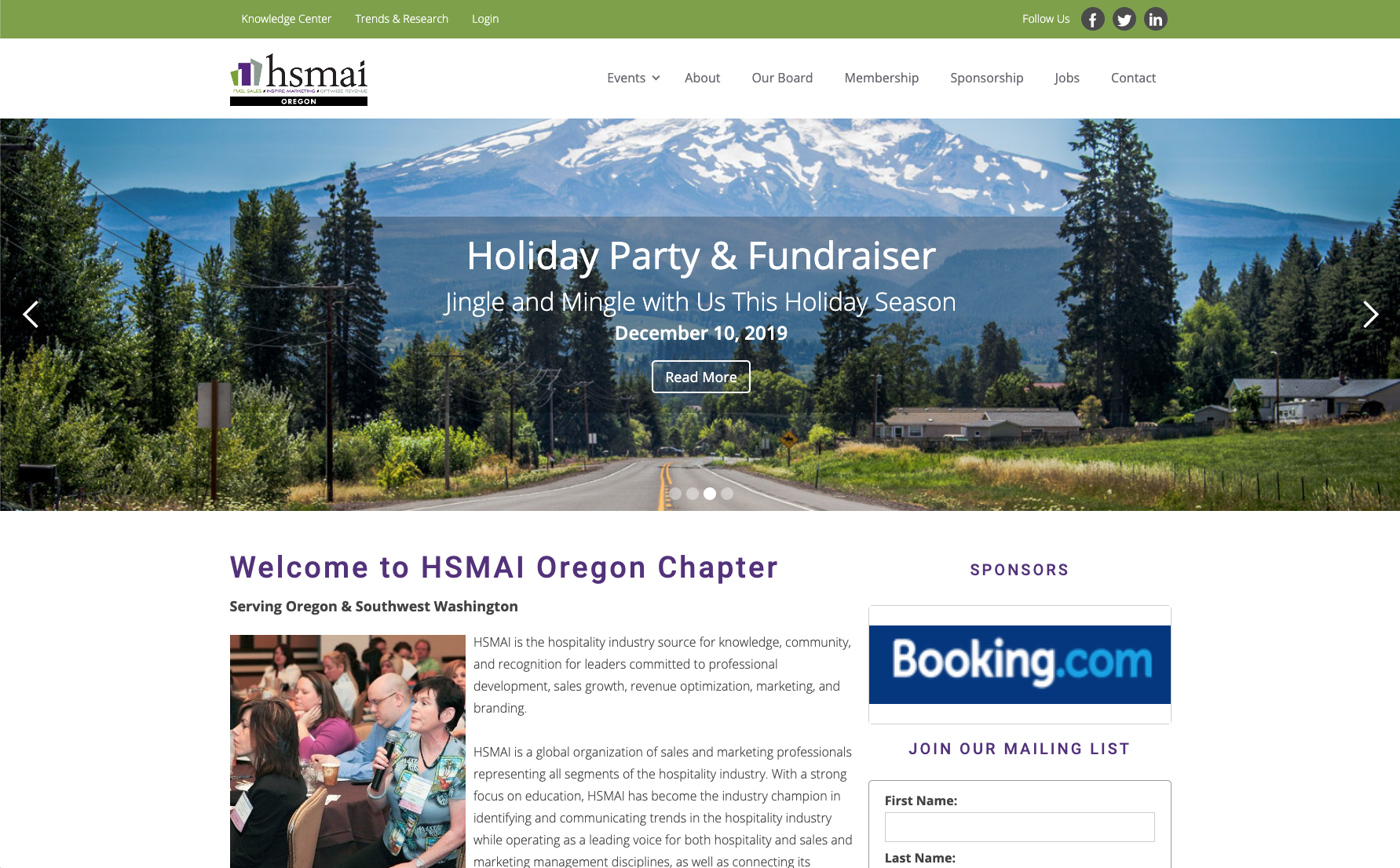 HSMAI Oregon website across screens