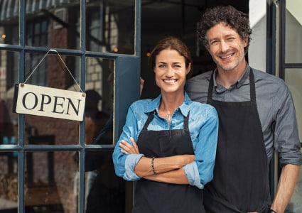 small business with open sign