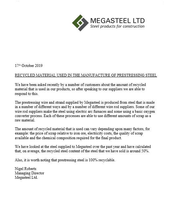 recycled steel from Megasteel