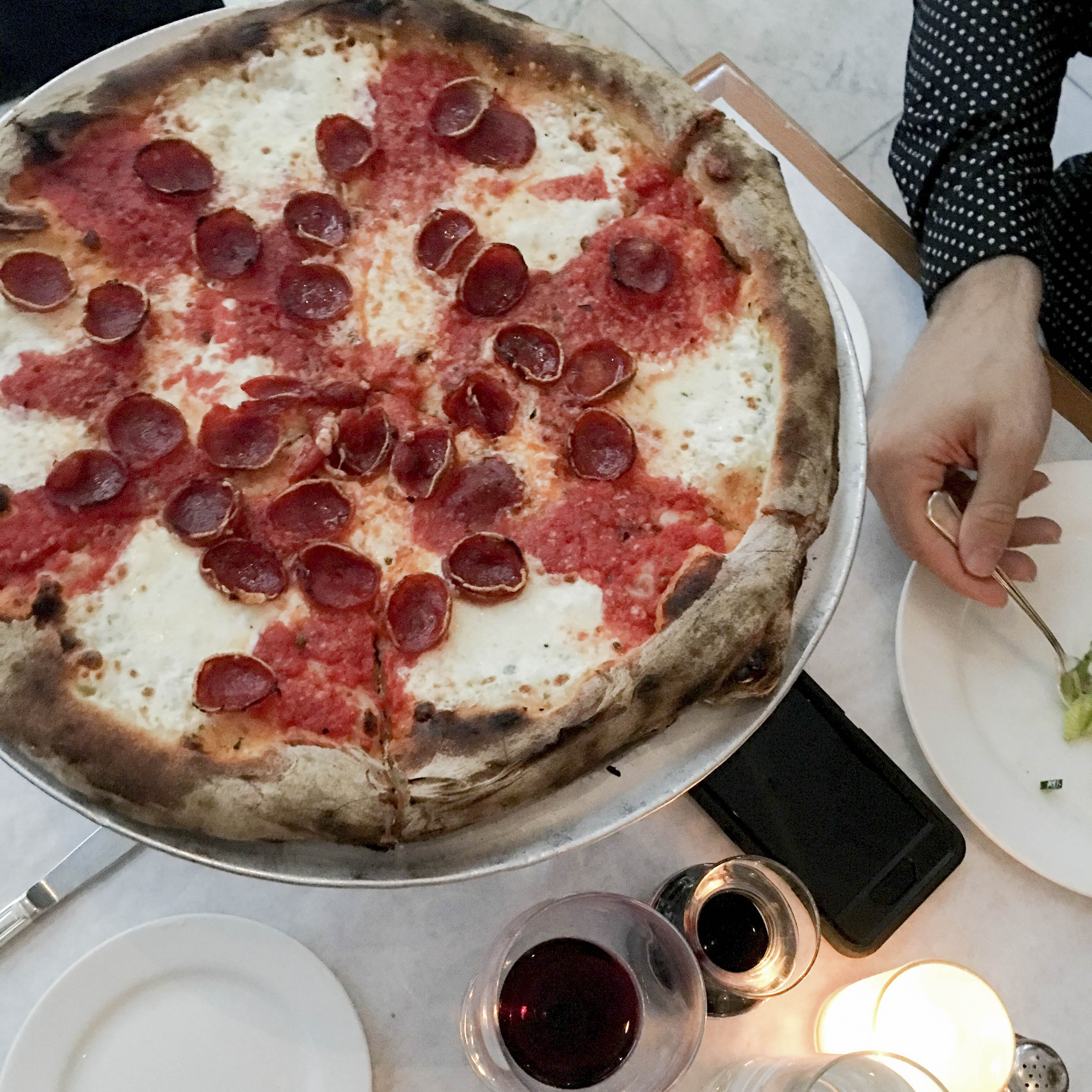 Bottega Louie Pepperoni Pizza: Mozzarella, Pecorino Romano, Pepperoni, Tomato Sauce & Oregano