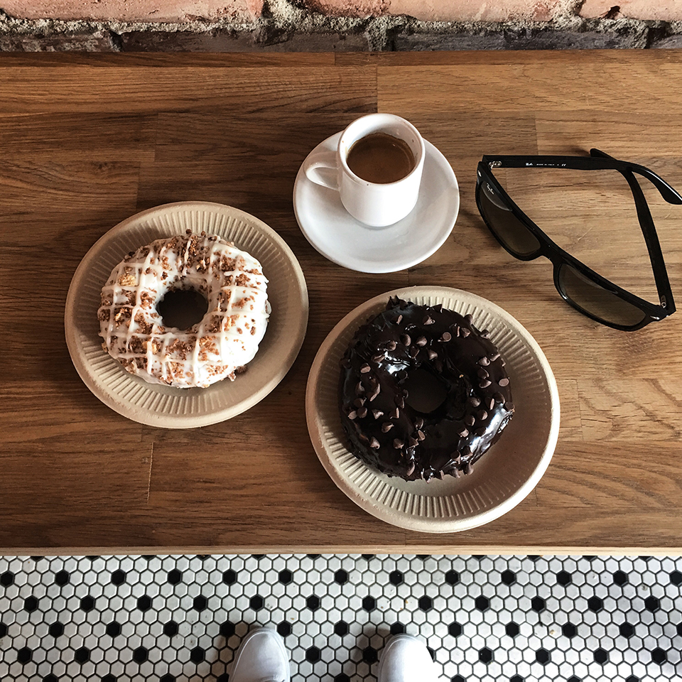 Photo By River Davis - Birdies LA - HORCHATA TWIST WITH DULCE DE LECHE Donut, CINNAMON TOAST CRUNCH Donut, and Espresso