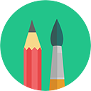 pencil and paintbrush icon