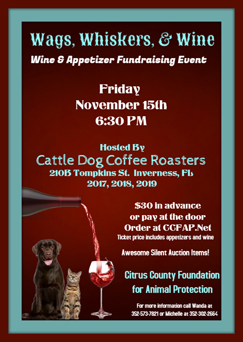 Poster with a dog, a cat, and some wine with event details.