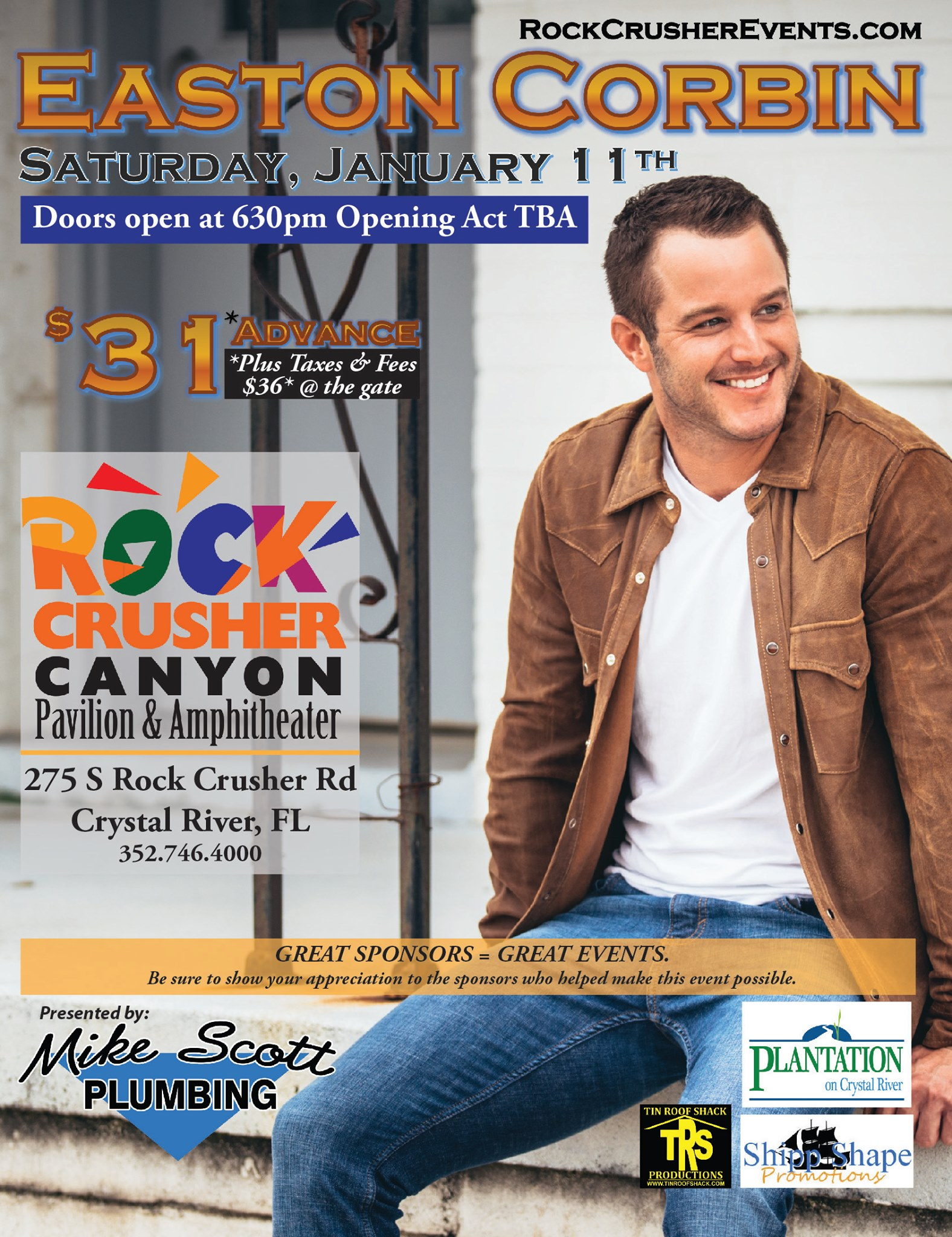 Eastin Corbin live in concert at rock crusher canyon