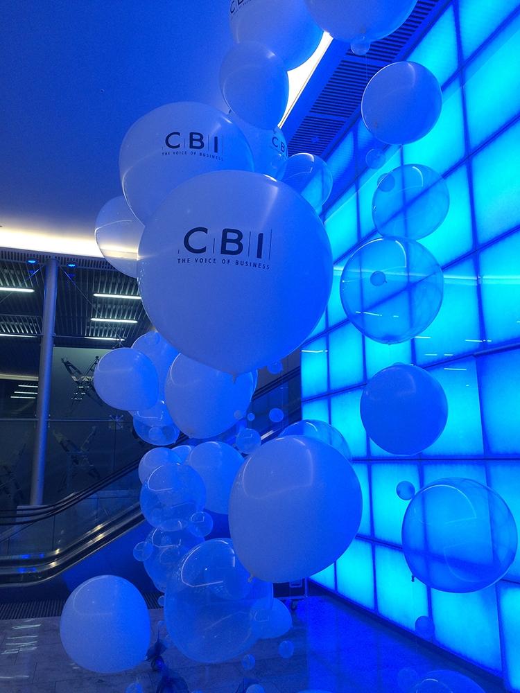 An arrangement of printed balloons