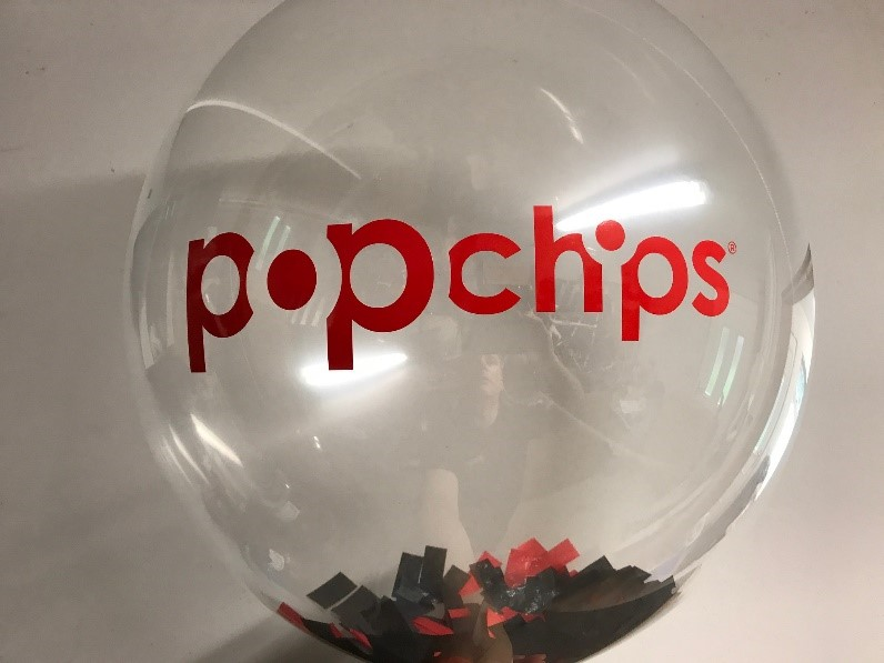 A popchips balloon with inserts