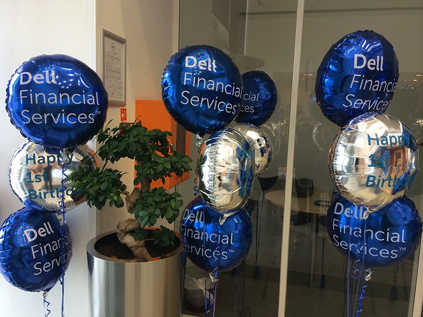 Balloons printed for Dell Financial Services