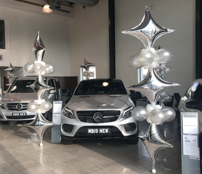 Balloon display in Mercedes showroom