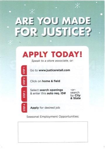 Justice Seasonal Associate application information