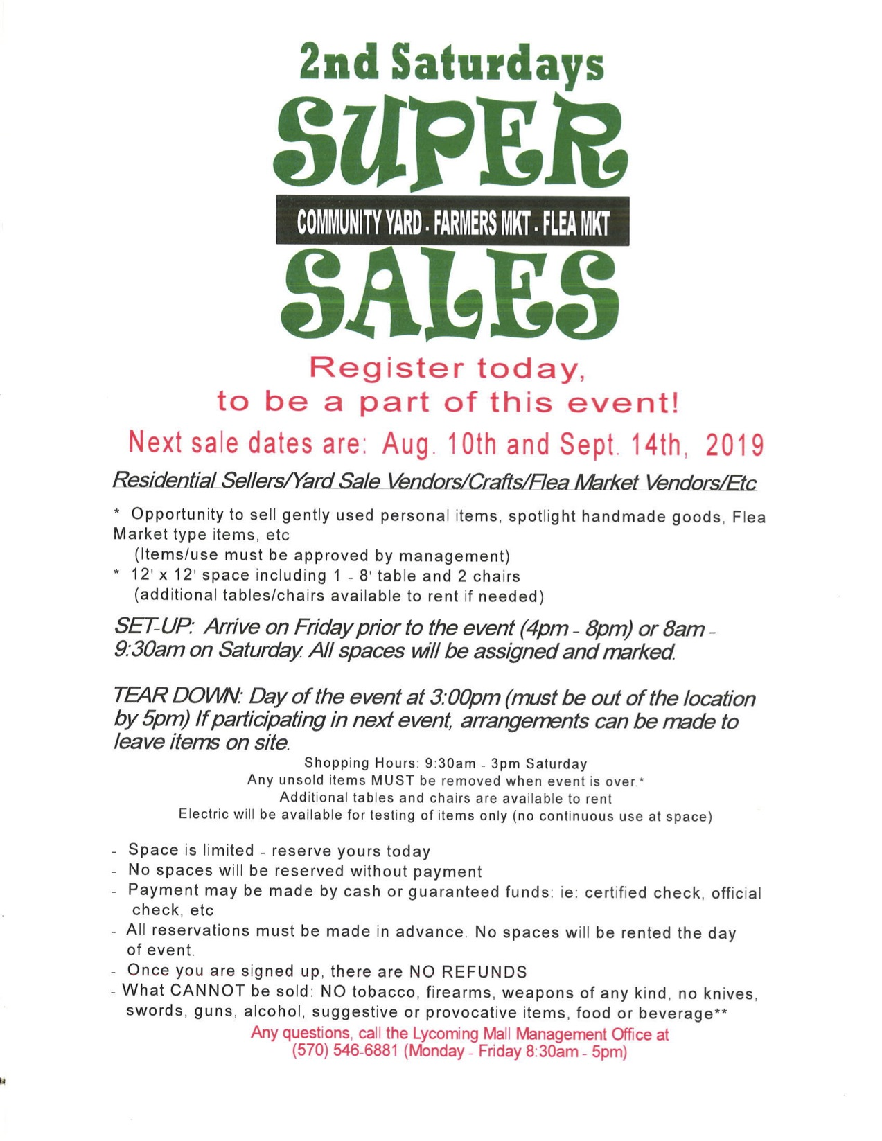 Lycoming Mall's 2nd Saturday Super Sales