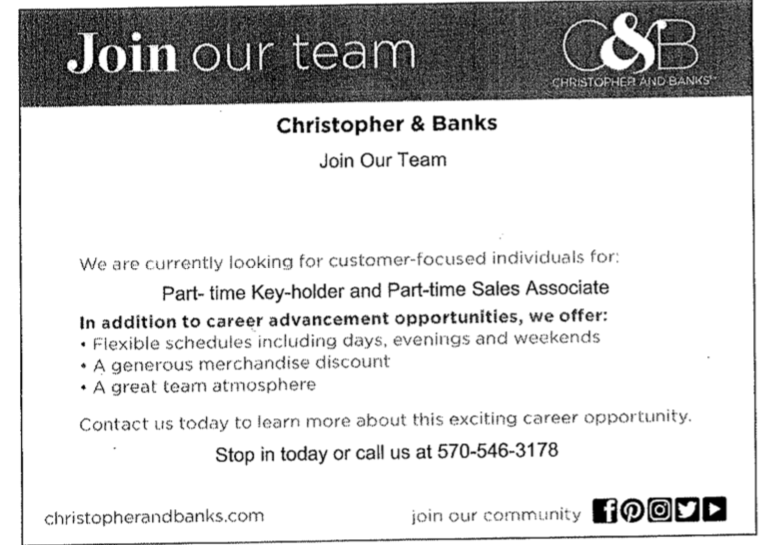 Christopher & Banks job posting