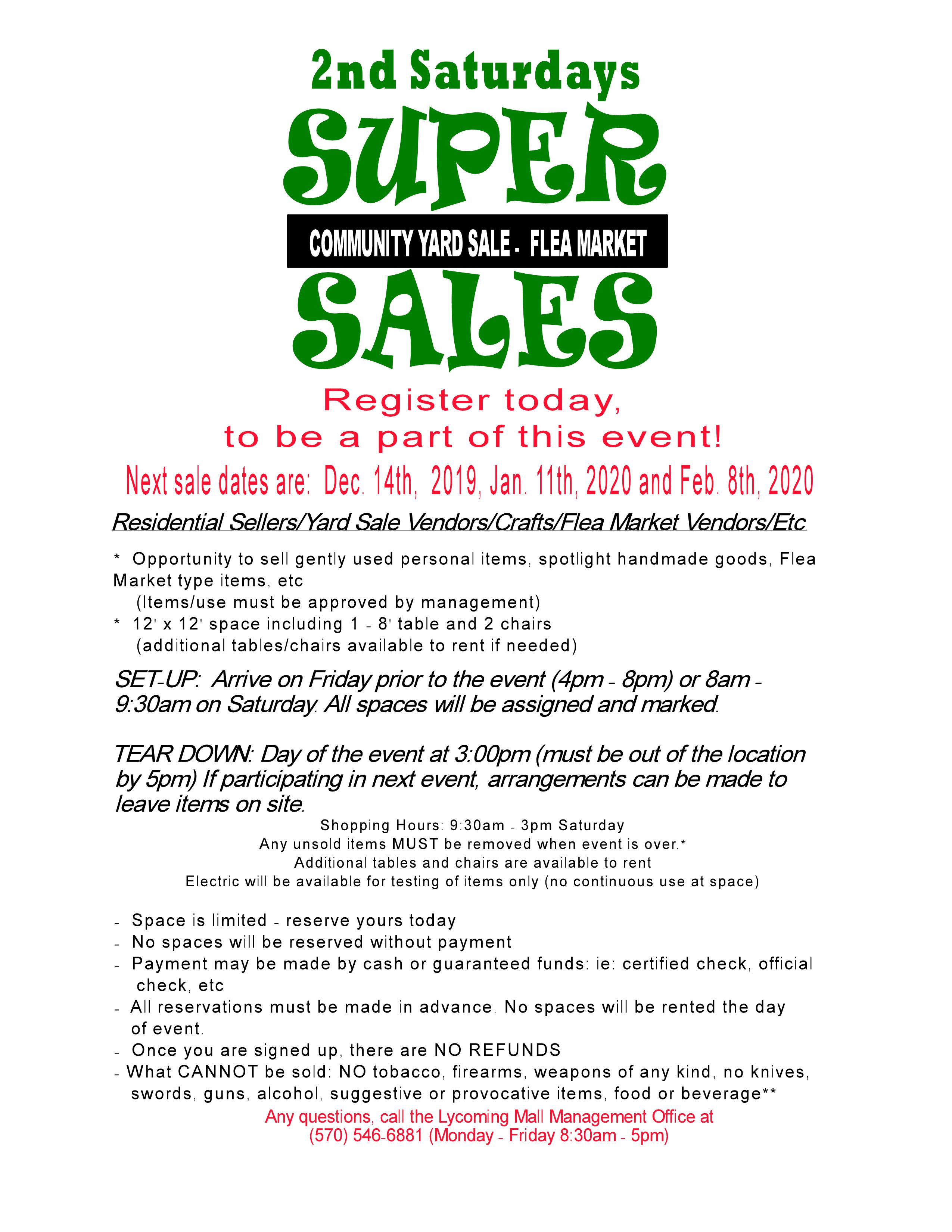 lycoming mall super saturday registration