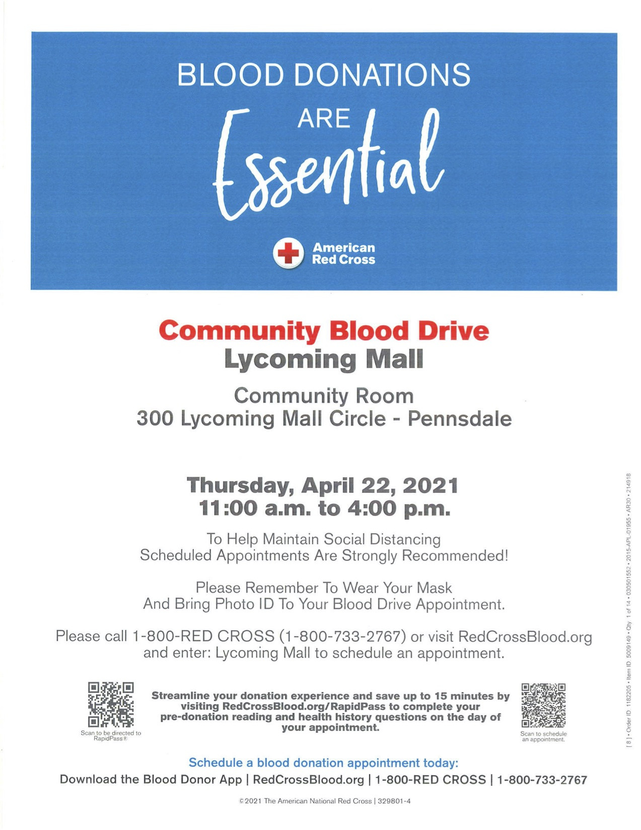 Red cross blood donation information at the the community room of Lycoming Mall. There is a QR code to scan at the bottom of the photo to make an appointment.