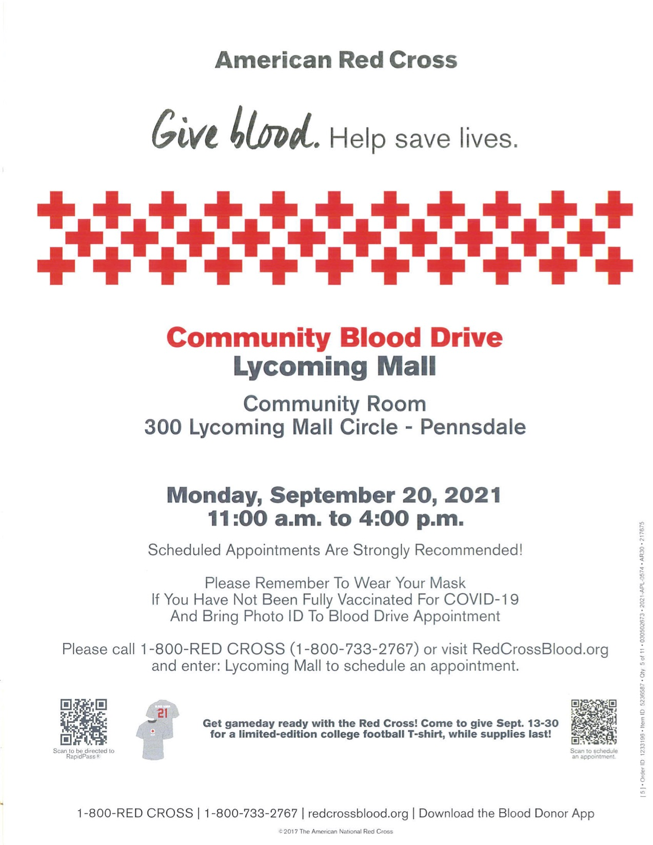 bloodmobile in the community room at lycoming mall presented by american red cross
