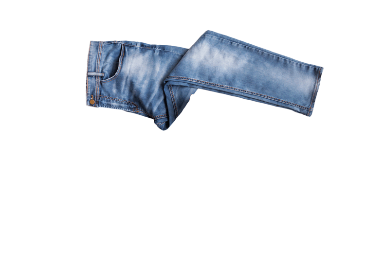 A pair of jeans being segmented with a segmentation mask