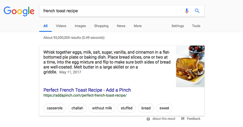 Google rich results showing a recipe for french toast