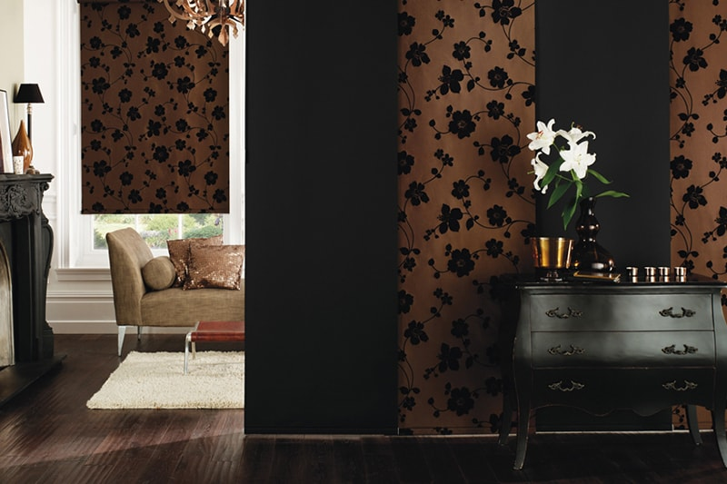 Chocolate coloured Panel Blinds with black floral pattern