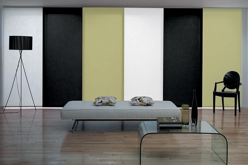 White, green, black and grey Panel Blinds