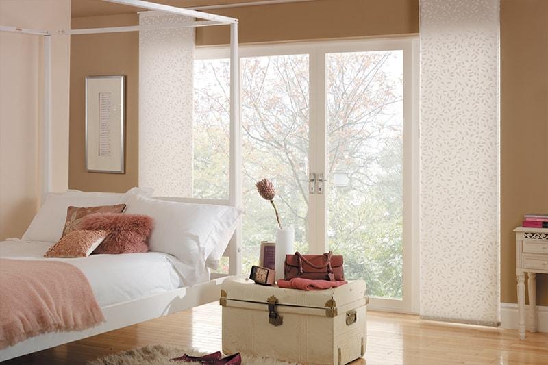 White bedroom Panel Blinds