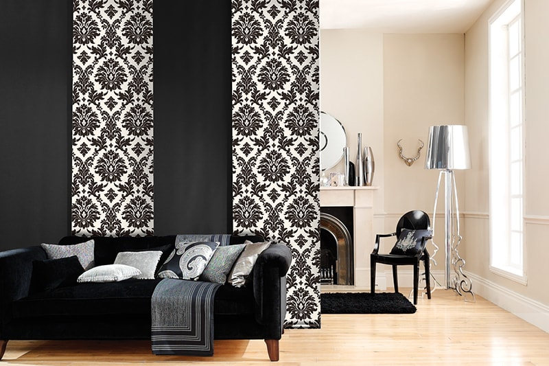 Panel Blinds with black and white pattern