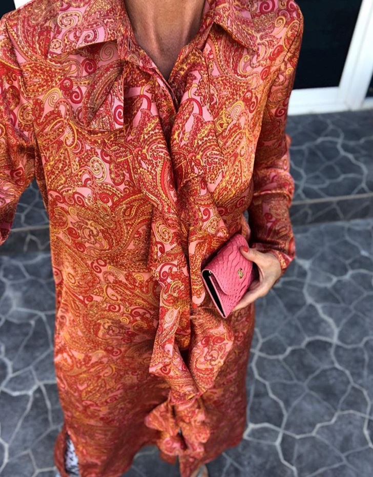 Pink paisley ruffle dress