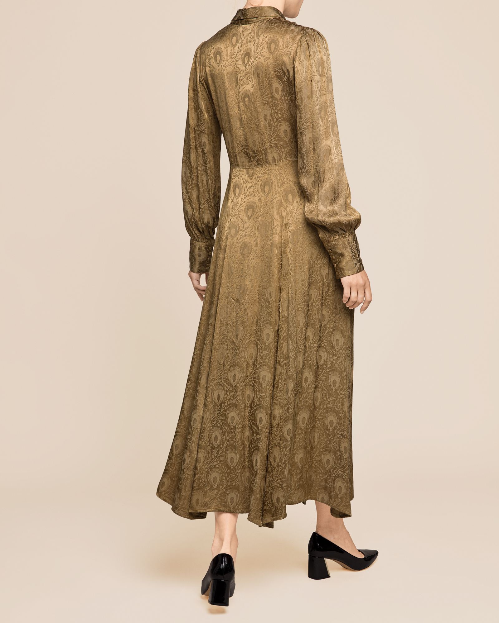 Jaquard Shirt Dress Olive